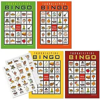BrightandBold Thanksgiving Bingo Game for 20 Players