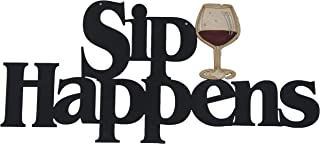 Memory Mats & Word Art Wine Themed Decorative Wall Signs, Kitchen, Home, Restaurant Decoration (Sip Happens)