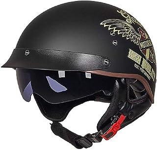 Adult Retro Half Opening Motorcycle Helmet with Internal Sun Visor Summer Motorbike Helmet Motocross Racing Safety Protect...