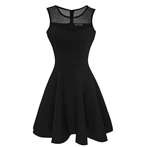 27393fee276b Sylvestidoso Women's A-Line Pleated Sleeveless Little Cocktail Party Dress  with Floral Lace
