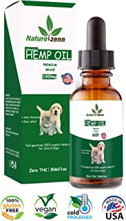 Hemp Oil for Dogs, anxiety relief for dogs, cat calming and pets Hip and Joint pain relief -1000mg