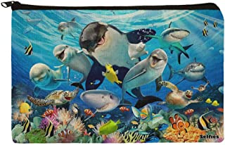 Underwater Ocean Selfie Orca Shark Dolphin Sea Turtle Coral Pencil Pen Organizer Zipper Pouch Case
