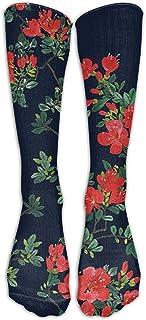 Hermosos calcetines hasta la rodilla con estampado floral Hombres y mujeres Medias largas de tubo deportivo para correr, caminar, fútbol