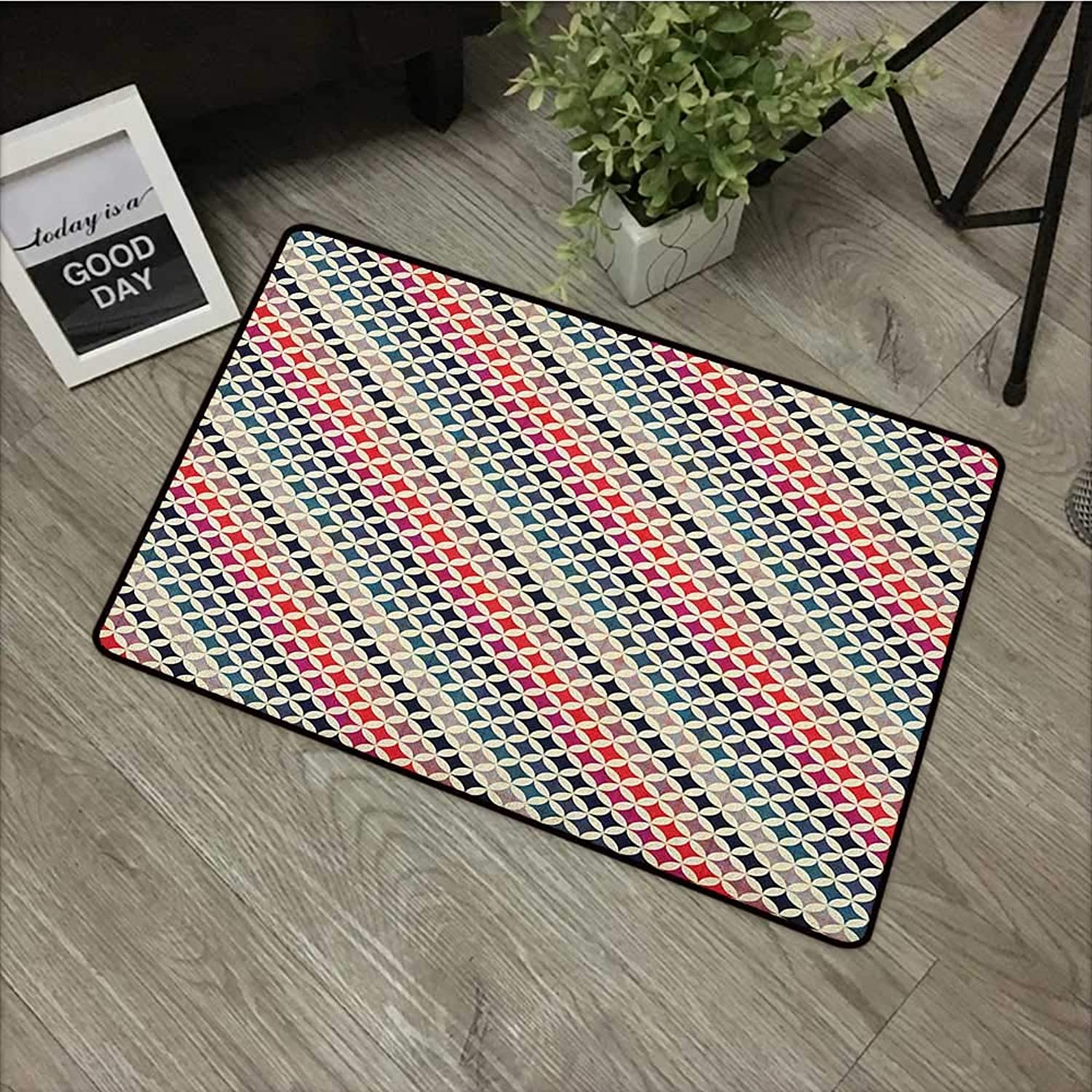 Printed Door mat W35 x L59 INCH colorful,Interlocking Grid Motif Pattern with colorful Diagonal Stripes Vibrant Background, Multicolor Non-Slip, with Non-Slip Backing,Non-Slip Door Mat Carpet