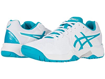 ASICS Kids GEL-Resolution 8 Tennis (Little Kid/Big Kid) (White/Lagoon) Girls Shoes