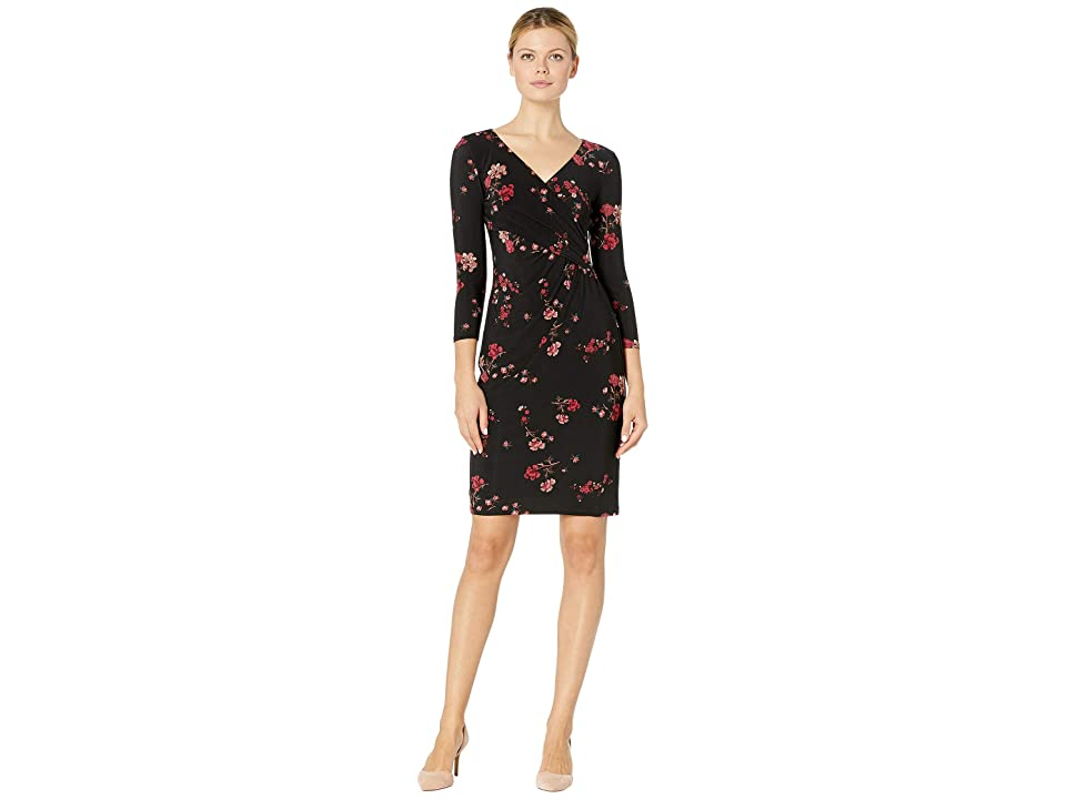 LAUREN Ralph Lauren B732 Sakura Floral Cleora 3/4 Sleeve Day Dress (Black/Red/Multi) Women