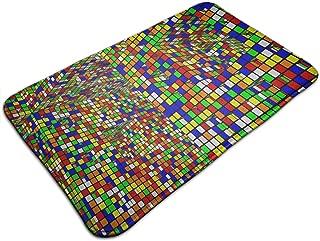 Hamiltonna Anti-Slip Memory Foam Bath Mat - 18 x 30 Inch, Extra Absorbent, Soft, Duarable Quick-Dry Shaggy Mat, 3D Print Rubiks Cube Floor Rugs Carpets