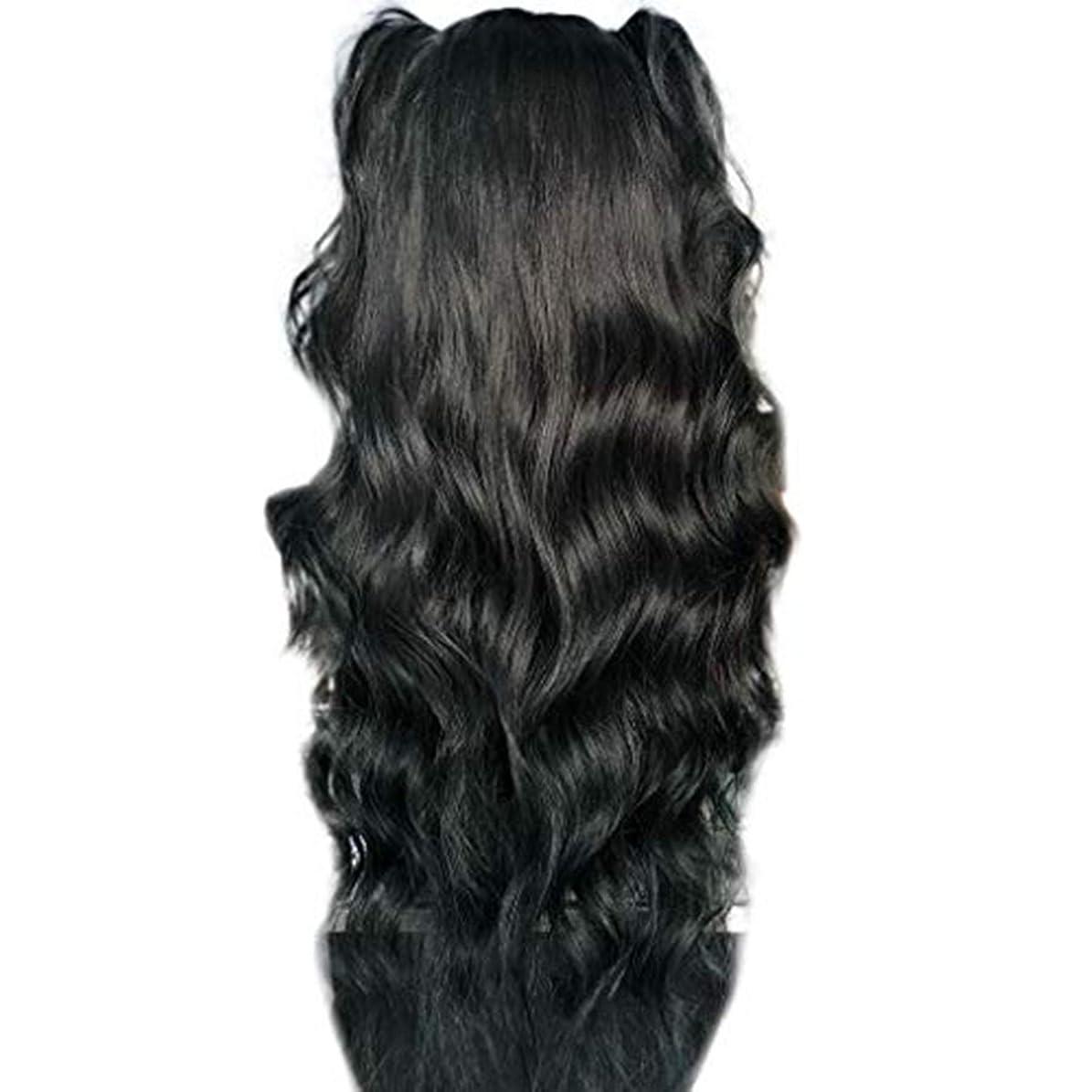 教えて光景タービンかつら女性長い巻き毛の化学繊維高温シルクフロントレースかつら26インチ