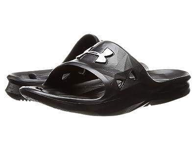 Under Armour Kids UA Locker III Slide (Little Kid/Big Kid) (Black/Black/Metallic Silver) Boys Shoes