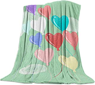 Queen Area Ultra Soft Flannel Throw Blanket Valentines Day Heart Shaped Balloons Colorful Cheerful Image Lightweight Throw fit Sofa Couch Bed Suitable for All Season 39