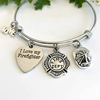 I Love My Firefighter Fire Wife Jewelry Gift for Medic Girlfriend - Small-Med