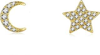 Dainty Pearl Threader Earrings 14K Gold Plated Cubic Zirconia Diamond Hamsa Star Earrings Sterling Silver Post Studs Hypoallergenic Stud Earrings for Women,Girl