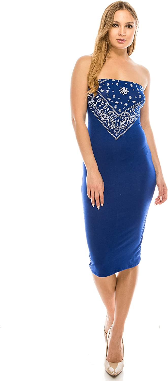 DOUBLEFIVE Women's Casual Basic Paisley Bandanas for Women Strapless Bodycon Midi Club Dresses