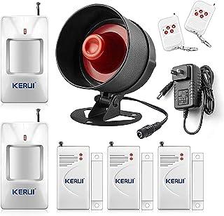 KERUI Standalone Home Office & Shop Security Alarm System Kit, Wireless Loud Indoor/Outdoor Weatherproof Siren Horn with R...