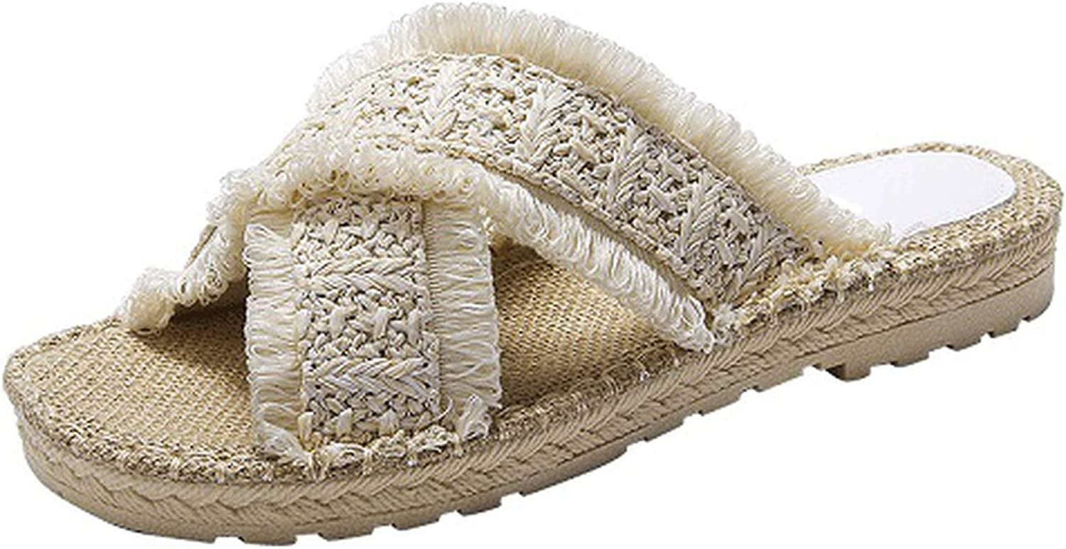April With You Women's Slippers shoes Slippers Sandals Beach shoes Flip Flops Comfortable House Straw shoes