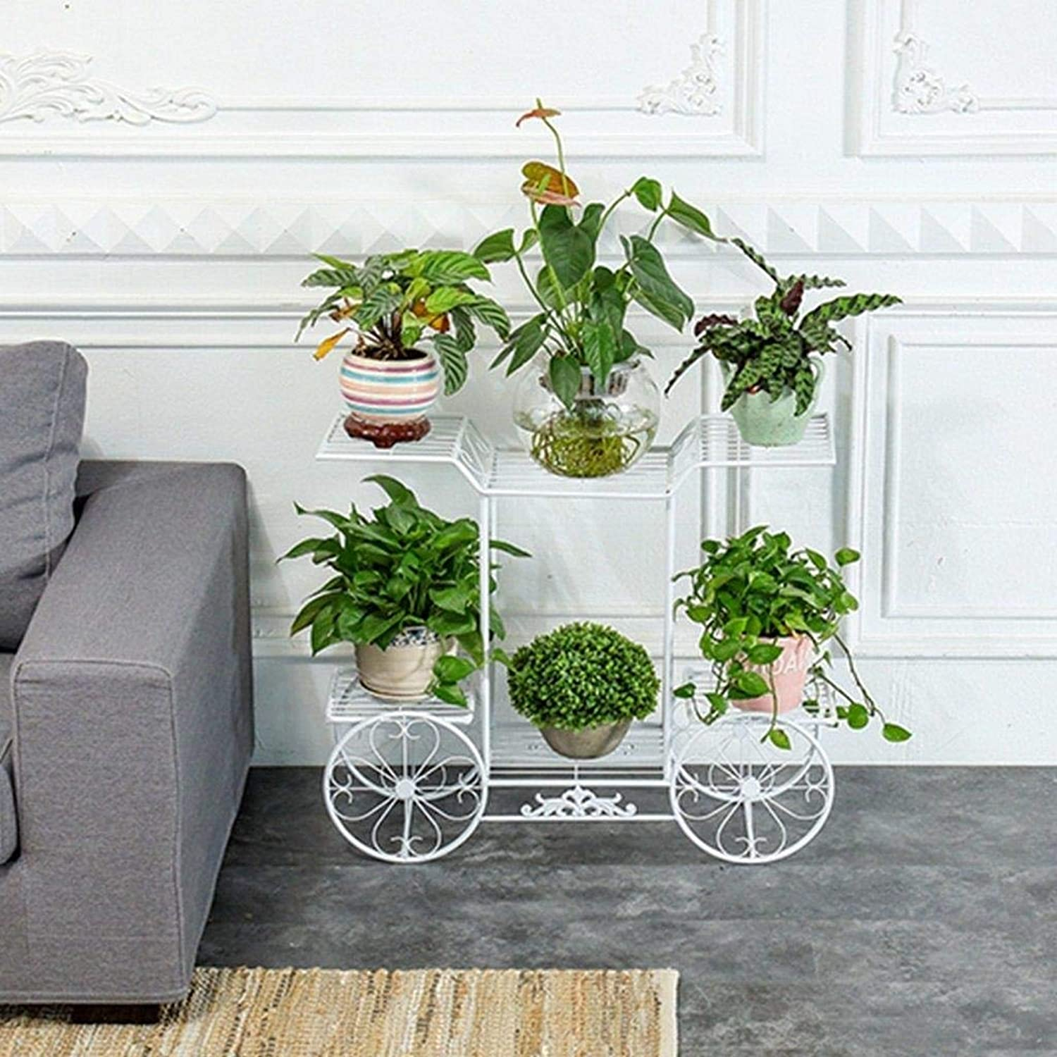 Flower Stand - Metal Garden Cart Stand and Flower Pot Plant Display Stand, 6 Storey, Paris Style - Suitable for Home, Garden, Courtyard - 78CM  25CM  75CM (color   White)