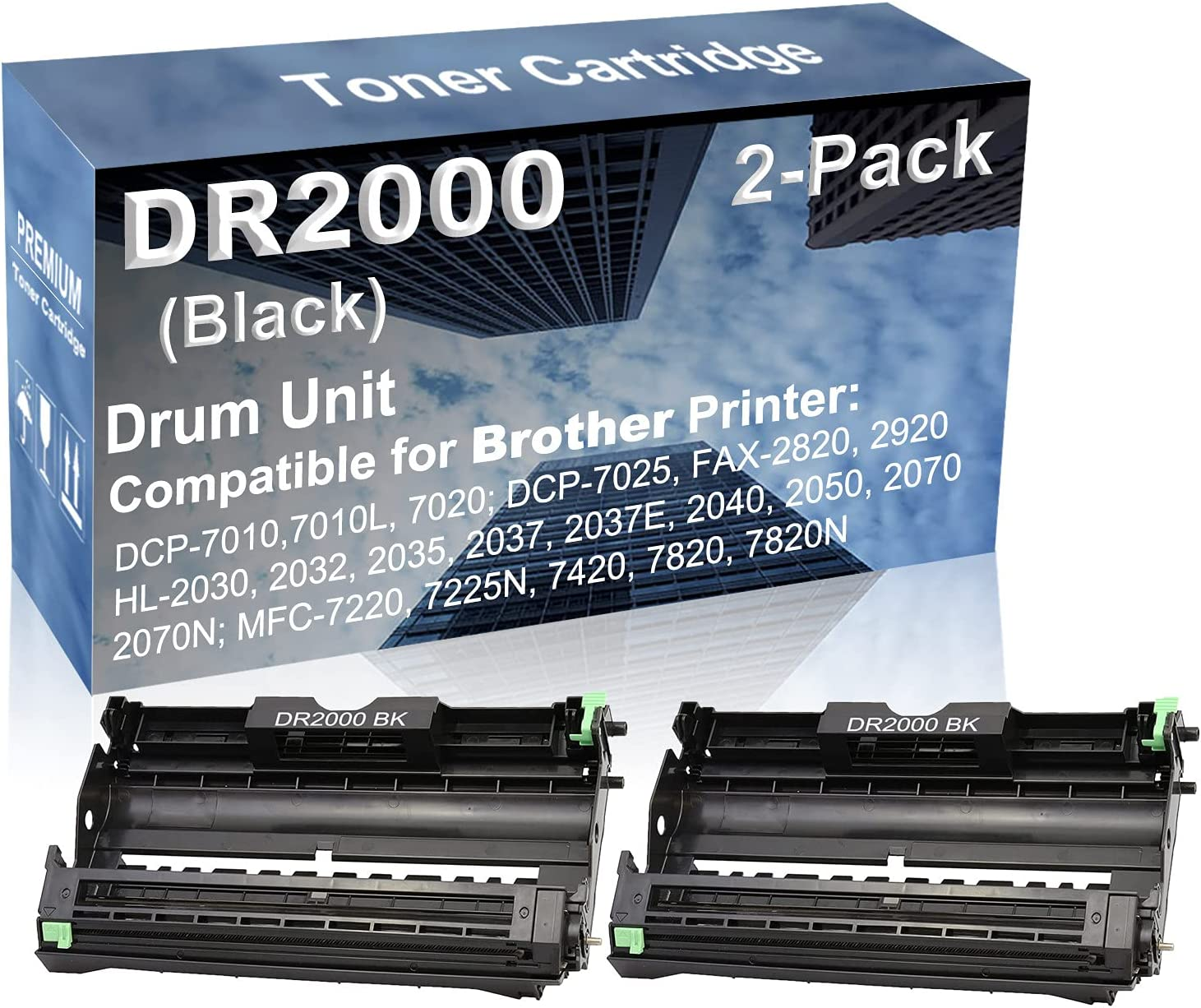 2-Pack Compatible Drum Unit (Black) Replacement for Brother DR2000 Drum Kit use for Brother HL-2070N, MFC-7220, MFC-7225N, MFC-7420, MFC-7820, MFC-7820N Printer