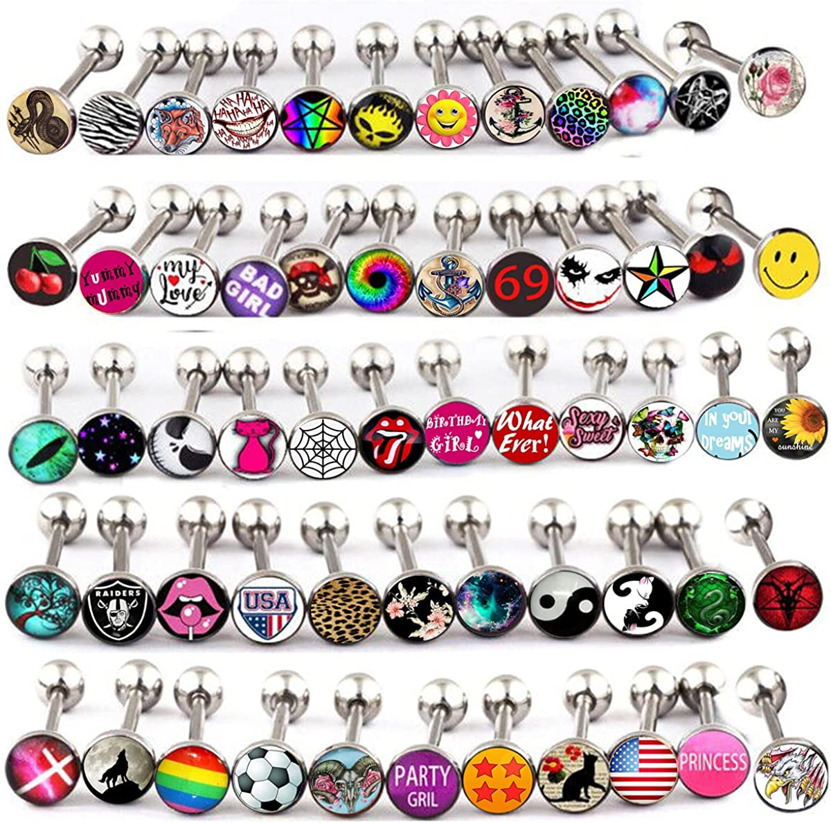 Details about  /7pcs Colorful Steel Bar Tongue Rings Body Piercing Jewelry Tounge Bars Cool