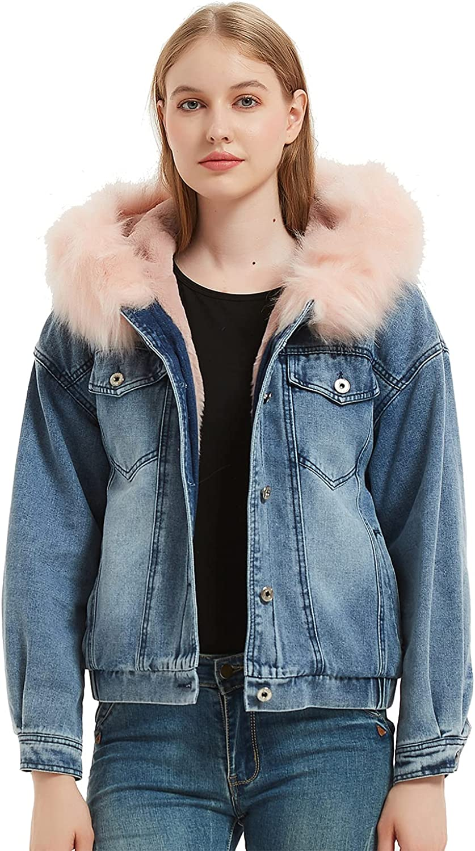 WeWarm Women's Winter Fur Hoddie Denim Jacket Coat