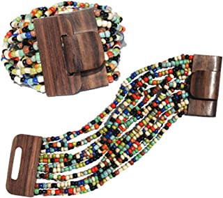 "Multi-color 14-Strand Elastic Stretchy Glass Beaded Bracelet w/ Wooden Buckle Clasp – 2"" Wide"
