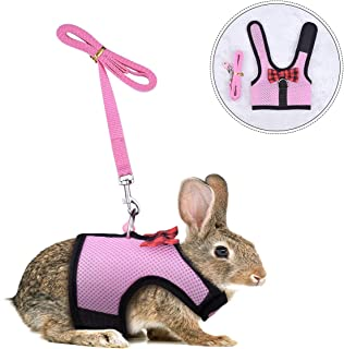 PERSUPER Small Animals Harness Leash Adjustable Soft Mesh Small Pet Harness Safe Bell, No Pull Comfort Padded Vest Durable Nylon Harness All Season Rats,Guinea Pig Hamster