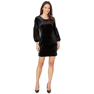 Nally & Millie Velvet Glitter Bubble Sleeve Dress (Black) Women