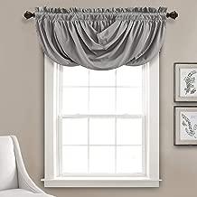 "Lush Decor Lucia Valance   Draped Soft Brushed Fabric, Window Kitchen Curtain (Single), 18"" x 42"", Gray"