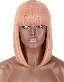 Kalyss Pink Color Bob Short Straight Hair Wig for Women Heat Resistant Yaki Synthetic Costume Women's Wig With Hair Bangs (pink)
