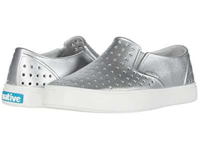 Native Kids Shoes Miles Metallic (Little Kid/Big Kid) (Silver Metallic/Shell White) Girl