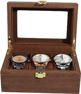 Svart valnöt färg träklocka låda förvaringsbox smycken arrangör hållare samlingslådor för förvaring och skydd av klockor m...