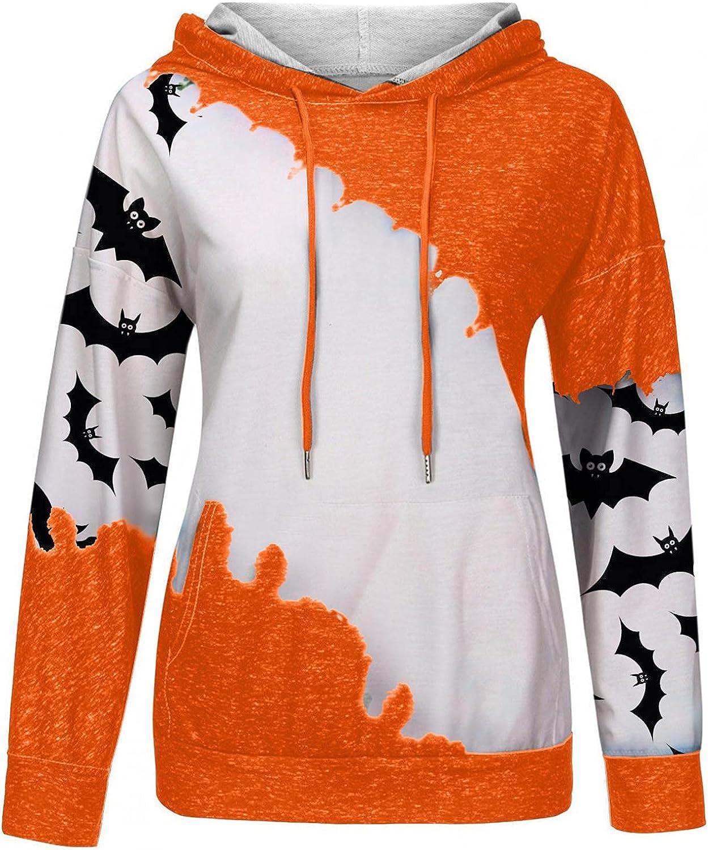felwors Hoodies for Women, Womens Halloween Pumpkin Cute Print Hooded Tops Loose Drawstring Casual Pullover Sweatshirts