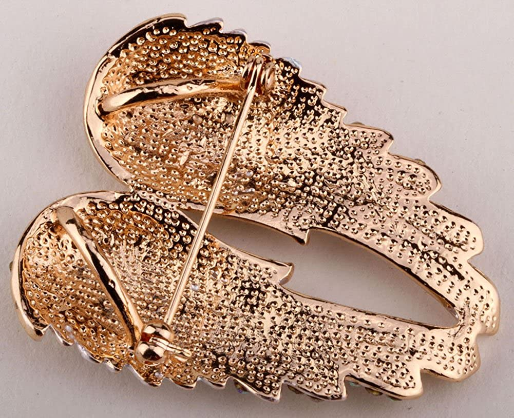 Women's Guardian Angel Wing Brooch Pins & Pendants 2 in 1 - Scarf Holders - 2 x 1 Inchs - Lead & Nickle Free - Crystal & Enamel