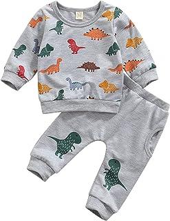 Infant Baby Boy Long Sleeve Clothes Set Tiger/Dinosaur Printed Sweatshirt and Pants 2Pcs Spring Fall Outfits