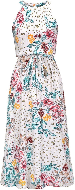 iQKA Women's Sundress Halter Neck Long Dress Summer Sleeveless Floral Print Midi Dress Casual Loose Beach Dress