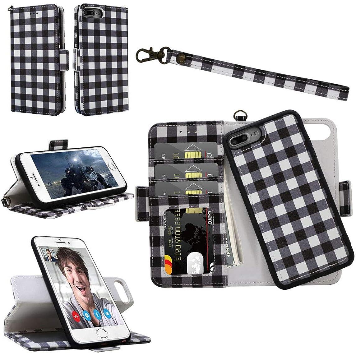 iPhone 8 Plus / 7 Plus / 6S Plus / 6 Plus Wallet Detachable Case with Wrist Strap, Magnetic Closure - Samgg Flip Folio Leather Cases with Tempered Glass for Apple iPhone 8/7/6S/6 Plus (Lattice #3)