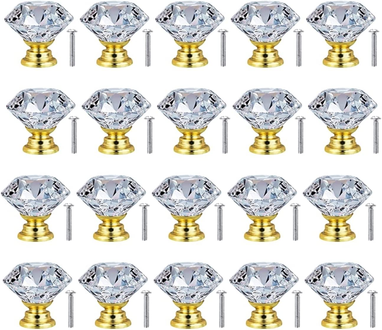 AILIUQIAN 20Pc 30mm Crystal Glass Max 55% OFF Door Knobs specialty shop Cupboard Cabinet Dr