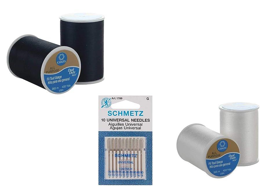 Coats & Clark All Purpose Thread 400 yds - 2 Black, 2 White Bundled with Schmetz Universal Machine Needles