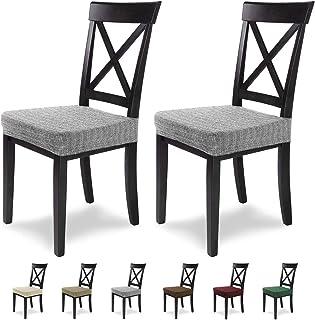comprar comparacion SCHEFFLER-Home Anna 2 Fundas para Asiento de sillas, Estirable Cubiertas, extraíble Funda con Banda elástica, Gris