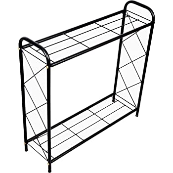 D&V ENGINEERING - Creative in innovation Metal 2 Tier Rack Type Plant Stand/Pot Stand for Living Room or Garden, 26 inches Height - Black