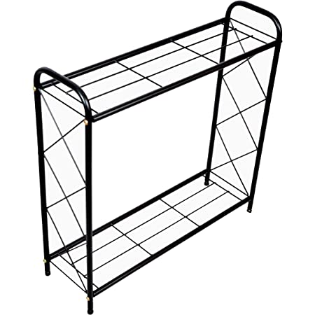 D&V ENGINEERING - Creative in innovation Metal 2 Tier Rack Type Plant Stand, Black, 26 inches height, 1 Piece