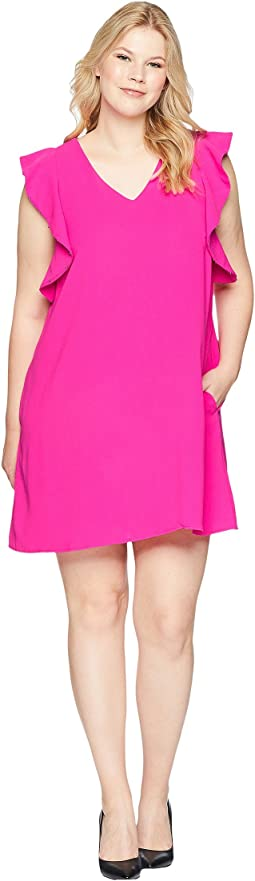 KARI LYN Plus Size Sky V-Neck Ruffle Sleeve Dress