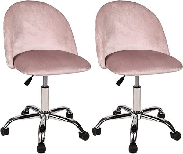 Adjustable Drafting Chair 360 Swivel Spa Rolling Stool With Comfort Flannel Back Set Of 2 Salon Office Desk Chairs Pink
