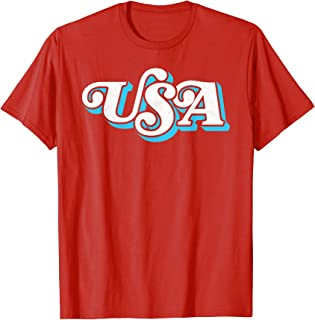 Vintage USA Retro Typography Patriotic 4th of July Graphic T-Shirt