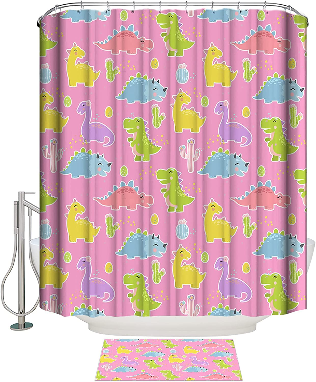 Dinosaur 2 Pieces Daily bargain sale Bathroom Set Absorbent Water Max 72% OFF P Bath Felt Mat