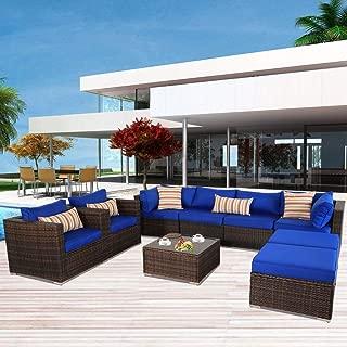 Leaptime Patio Furniture Sofa 9pcs Outdoor Brown Rattan Sofa Garden Sectional Sofa Conversation Set Wicker Couch Furniture Royal Blue Cushion w/Zipper