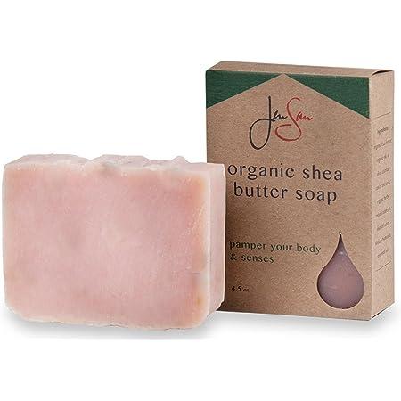 Jensan Rose Petals Natural Organic Shea Butter Moisturizing Soap Bar - Handmade with Essential Oils