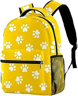 حقيبة ظهر كاجوال حقيبة كتب للمدرسة الثانوية والمدرسة الثانوية التنزه والتخييم Daypack White Paw Yellow print