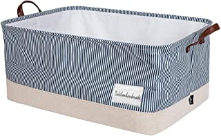 DOKEHOM 22-Inches Thickened X-Large Storage Basket -22x15x13 Inches- Drawstring Canvas Underbed Storage, Square Cotton Lin...