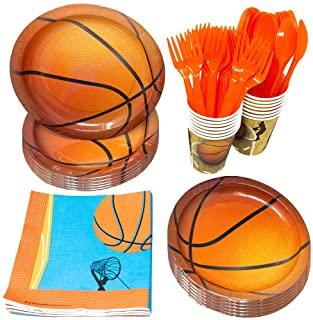 Basketball Party Supplies Packs(113+ Pieces for 16 Guests!), Hoops Birthday Kit, Basketball Tableware Pack, Basketball Dec...