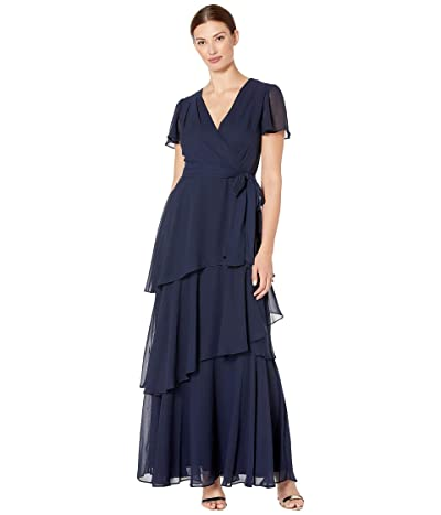 Tahari by ASL Flutter Sleeve Chiffon Maxi Dress with Tiered Skirt (Navy) Women